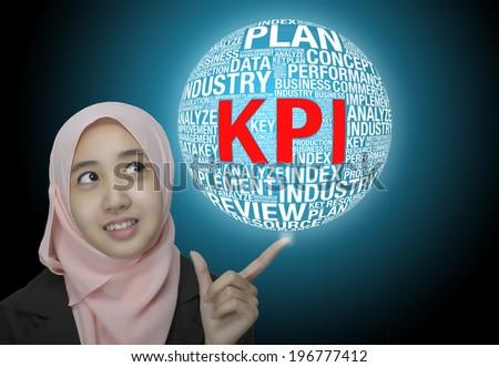 "business women pointing her finger ""KPI""Key Performance Indicators Concept - stock photo"