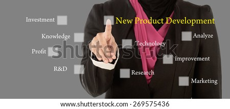 Business Women press digital New Product Development button on interface in front of her