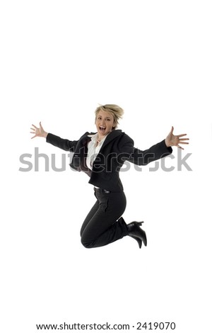 business women success expression jump on white - stock photo