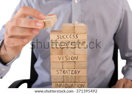 Business wood building - stock photo