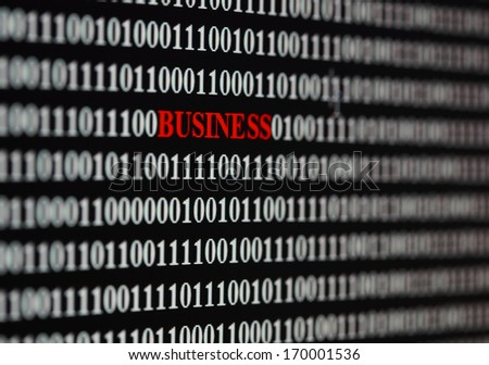 Business word among digital numbers - stock photo