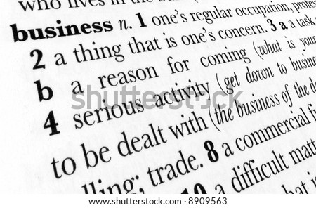 Business word dictionary definition in great perspective