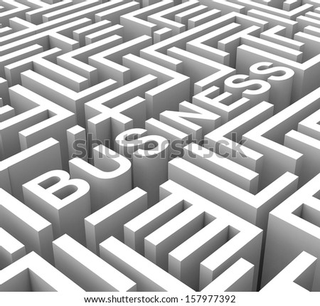 Business Word In Maze Shows Commerce Or Entrepreneur
