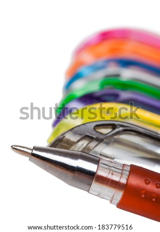 Business words are handwritten with colorful pens. Symbol of team work