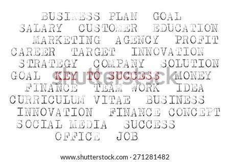 Business words printed on typewriter - stock photo