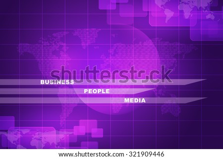 Business words with world map on purple abstract background