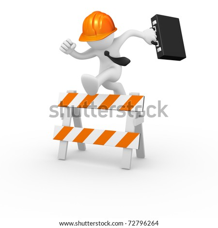 Business worker jumping over a hurdle obstacle - stock photo