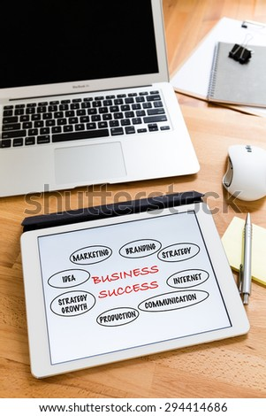 Business working desk with tablet showing marketing success concept - stock photo