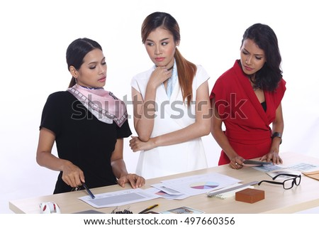 Business Working Woman Model in executive look, white background in studio lighting