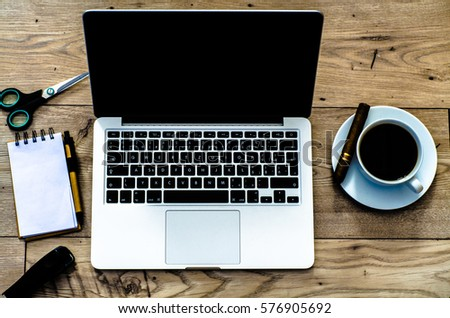 top view office stuff hipster desktop stock photo 359613887