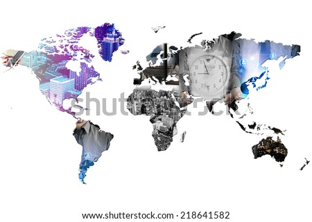 business world - double exposure  - stock photo