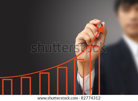Business write growth graph - stock photo