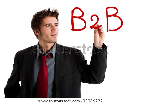 "Business writing ""B2B"" on the screen - stock photo"