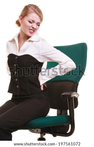Business. Young businesswoman with backache. Woman with back pain isolated on white. Long working hours and health. - stock photo