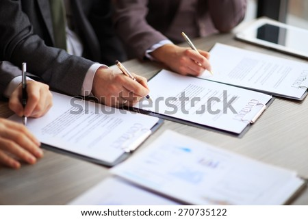 Business young people in the job interview, signed an employment contract with boss in the office - stock photo