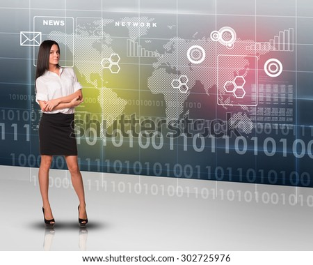 Businesslady with crossed arms looking at camera on abstract background - stock photo