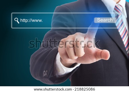 Businessma press website for search something with your business - stock photo