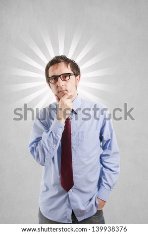 Businessma thinking with the blank clouds over his head - stock photo