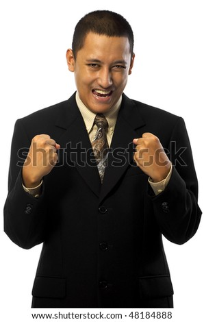 Businessman act success isolated on white background - stock photo