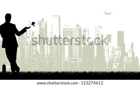businessman against the megalopolis - stock photo