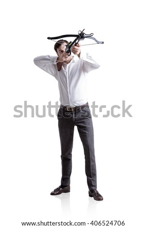 Businessman aiming at target with bow and arrow, isolated on white background - stock photo