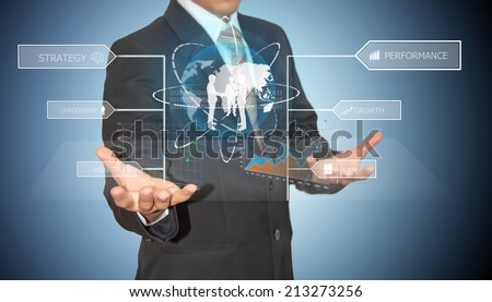 businessman analyze and work with high technology