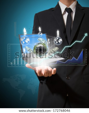 businessman analyze graph and finance on hand