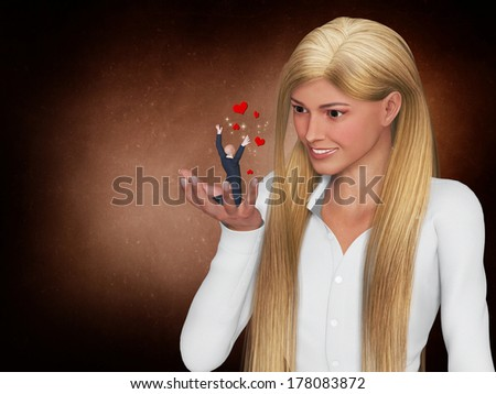Businessman and a businesswoman flirting in a office - stock photo