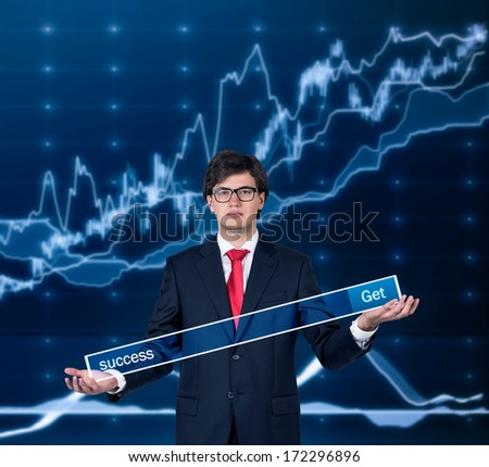 Businessman and a graph - stock photo