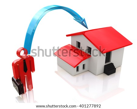 businessman and a house - real estate investment. 3D rendered illustration - stock photo