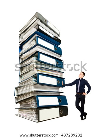 Businessman and a stack of office folders, concept - stock photo