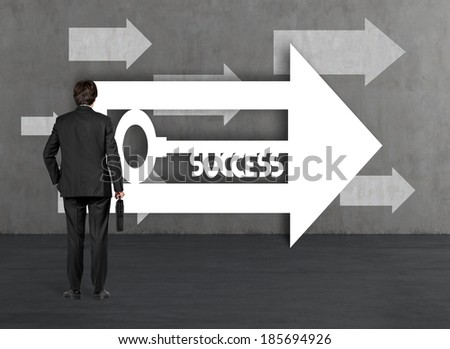 Businessman and a way to success - stock photo