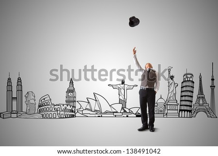 Businessman and attractions sketch. Travel Concept. - stock photo