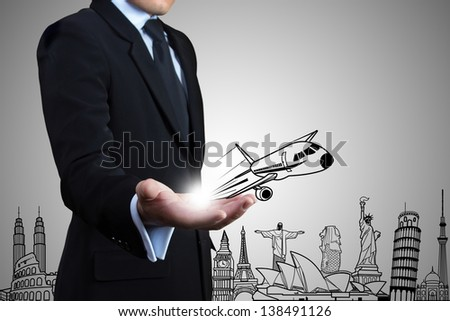 Businessman and attractions sketch. Travel Concept.
