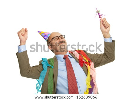 Businessman and birthday on a white background - stock photo