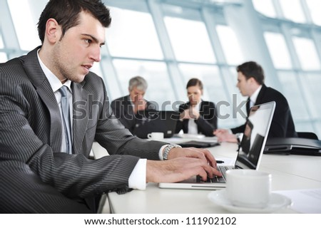 Businessman and business people - stock photo