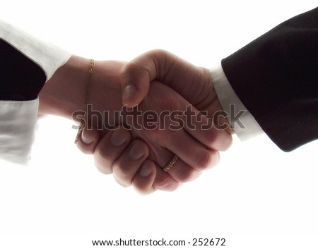 businessman and business woman shaking hands - stock photo