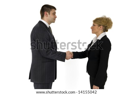 Businessman and business woman welcome.
