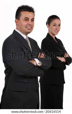 Businessman and businesswoman as a team