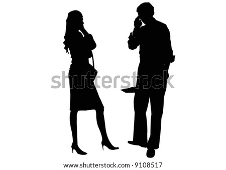 businessman and businesswoman couple talking on mobile phones - stock photo