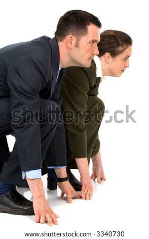businessman and businesswoman doing a business competition - isolated over a white background - stock photo