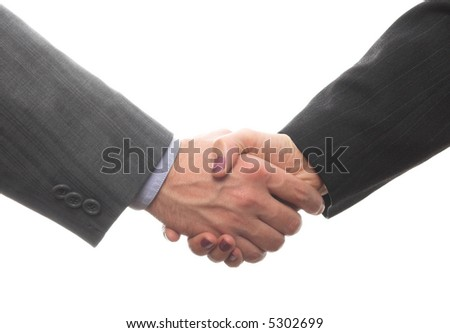 businessman and businesswoman hand shaking