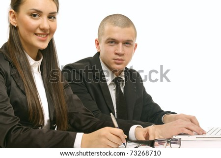 businessman and businesswoman in the office - stock photo