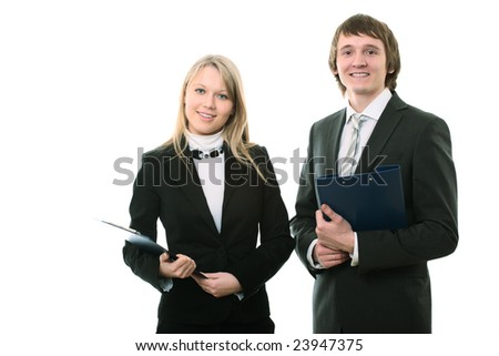 businessman and businesswoman on white background