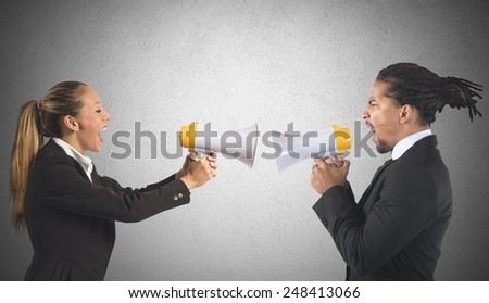 Businessman and businesswoman screaming fight for power - stock photo