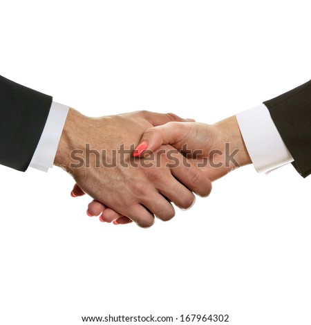 Businessman and businesswoman shaking hands after a new business agreement. - stock photo