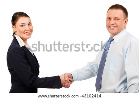 businessman and businesswoman shaking hands  on white background