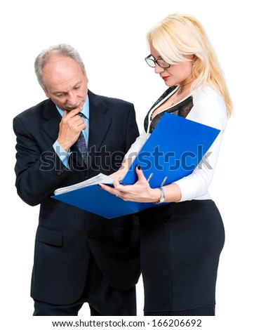 Businessman and businesswomen on a white background
