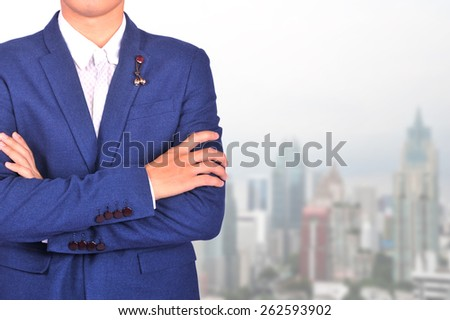 businessman and city background - stock photo