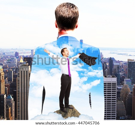 Businessman and city, Color image. Double exposure - stock photo